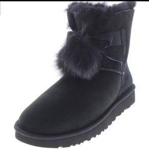 Ugg Gita Suede Pom Pom Slipper Boots